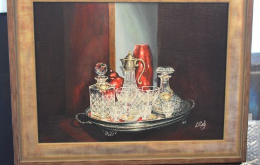 Completed and framed SOLD  - Crystal glass work in acrylics on canvas- 18 x 20 inches
